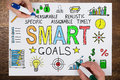 People Drawing Smart Goals Concept On Paper Royalty Free Stock Photo