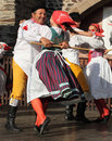People dressed in czech traditional garb dancing and singing the folklore ensemble usmev smile pilsen on chodske slavnosti Royalty Free Stock Image