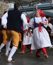 People dressed in czech traditional garb dancing and singing the folklore ensemble usmev smile pilsen on chodske slavnosti Royalty Free Stock Photos
