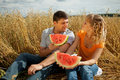 People eat watermelon Royalty Free Stock Photography