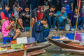 People eating Amphawa bangkok floating market thailand Royalty Free Stock Photography