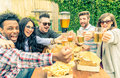 People eating and drinking Royalty Free Stock Photo