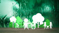 People in Ecology city on fresh nature background