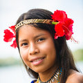 People in embera village panama january portrait of an undientified native indian girl with flowers on her head jan Stock Photos