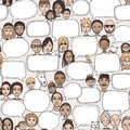 People with empty speech bubbles Royalty Free Stock Photo
