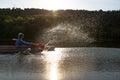 People enjou kayaking on beautiful river. Summer sunny time Royalty Free Stock Photo
