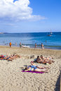 People enjoy the artifical beach playa blanca spain april playa dorada on april in playa blanca spain was restored in Royalty Free Stock Photo
