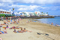 People enjoy the artifical beach playa dorada blanca spain april on april in blanca spain was restored in Stock Images