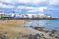 People enjoy the artifical beach playa dorada blanca spain april on april in blanca spain was restored in Stock Photography