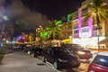 People enjoy nightlife at miami beach usa august night view ocean drive on august in miami beach florida art deco night life in Royalty Free Stock Photography