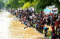 People enjoy splashing water together in songkran festival chiang mai thailand april on april chiang mai thailand Stock Images