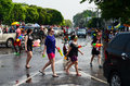 People enjoy splashing water together in songkran festival chiang mai thailand april on april chiang mai thailand Stock Photos