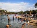 People enjoy water activity
