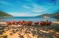 People enjoying the beautiful  beach  and sea in Koh Rong Samloem Royalty Free Stock Photo