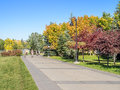 People enjoying calgary s pathway system on september in alberta pathways extend for hundreds of kilometers and Stock Photography