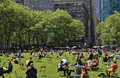 People enjoying a nice day in bryant park new york usa may on may new york city ny is acre privately managed Stock Photo