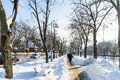 People Enjoying Sunny Winter Day Following A Strong Snow Storm In Downtown Bucharest City