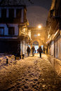 People entering Istanbul Grand Bazaar during snowstorm Royalty Free Stock Photo