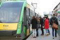 People entering a tram poznan january the just arrived at the glogowska street on january in poznan poland glogowska is one of the Royalty Free Stock Photos