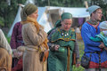 People at an event dedicated to the reconstruction of the life of the vikings international historical festival ladoga Stock Images
