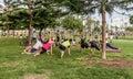 People exercising in El Parque del Amor, Lovers Park, Miraflores Royalty Free Stock Photo