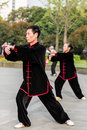 People exercising tai chi gucheng park shanghai china april with traditional costume in in the city of in on april Stock Images