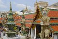 People explore Wat Phra Kaew complex in Bangkok, Thailand. Royalty Free Stock Photo