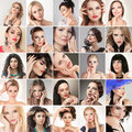 People faces digital composite of different fashion glamour young women Stock Photo