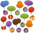 People faces with speech balloon icons Stock Photos