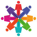 People figures in circle abstract with different colors a Stock Photos