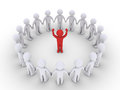People form a circle and listen to the leader d red one is at center Stock Photos