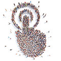 People in the form of cursor large group isolated white background Royalty Free Stock Photo