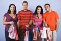 People friends with shopping bags Royalty Free Stock Photos