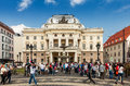 People in front of slovak national theatre bratislava theater on hviezdoslav square the old town slovakia it is the second oldest Royalty Free Stock Images