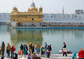 People gathering around Golden Temple Royalty Free Stock Images