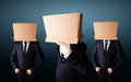 People gesturing with empty box on their head group of Royalty Free Stock Images