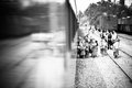 People getting in the train in Northern Mexico Royalty Free Stock Photo