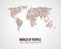 People global connection, earth population on world map vector concept Royalty Free Stock Photo