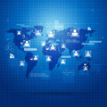 People global connections concept business blue background Royalty Free Stock Photos