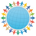 People & globe / color vector Royalty Free Stock Photo