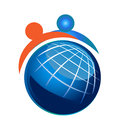 People and globe vector icon Royalty Free Stock Image