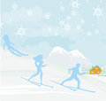 People go skiing in the winter day illustration Stock Photo