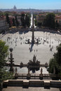 People going near obelisk on Piazza del Popolo Royalty Free Stock Images