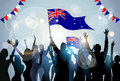People Group Silhouette Crowd Hold Flag Australia Royalty Free Stock Photo