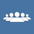 People group symbol on a blue background flat design element Royalty Free Stock Images
