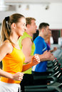 People in gym on treadmill running Royalty Free Stock Photo