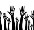 People hand like heart united seamless background. Royalty Free Stock Image