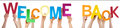 People Hands Holding Colorful Word Welcome Back Royalty Free Stock Photo