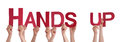 People Hands Holding Red Straight Word Hands Up Royalty Free Stock Photo