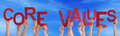 People Hands Holding Red Word Core Values Blue Sky Royalty Free Stock Photo